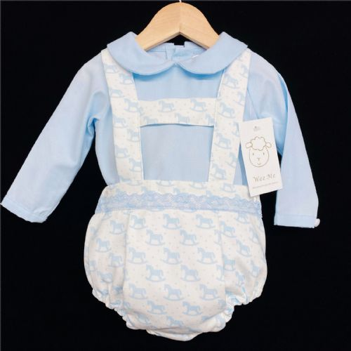 *AW20 Baby Boy Blue Rocking Horse Print Long Sleeve Romper Suit MYD212